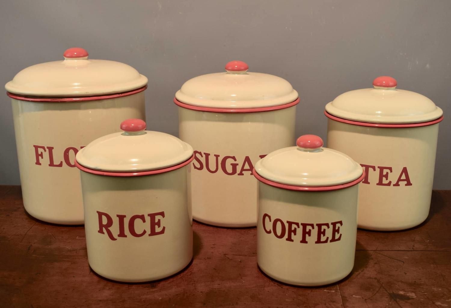 Five Vintage Enamel Kitchen Storage Canisters
