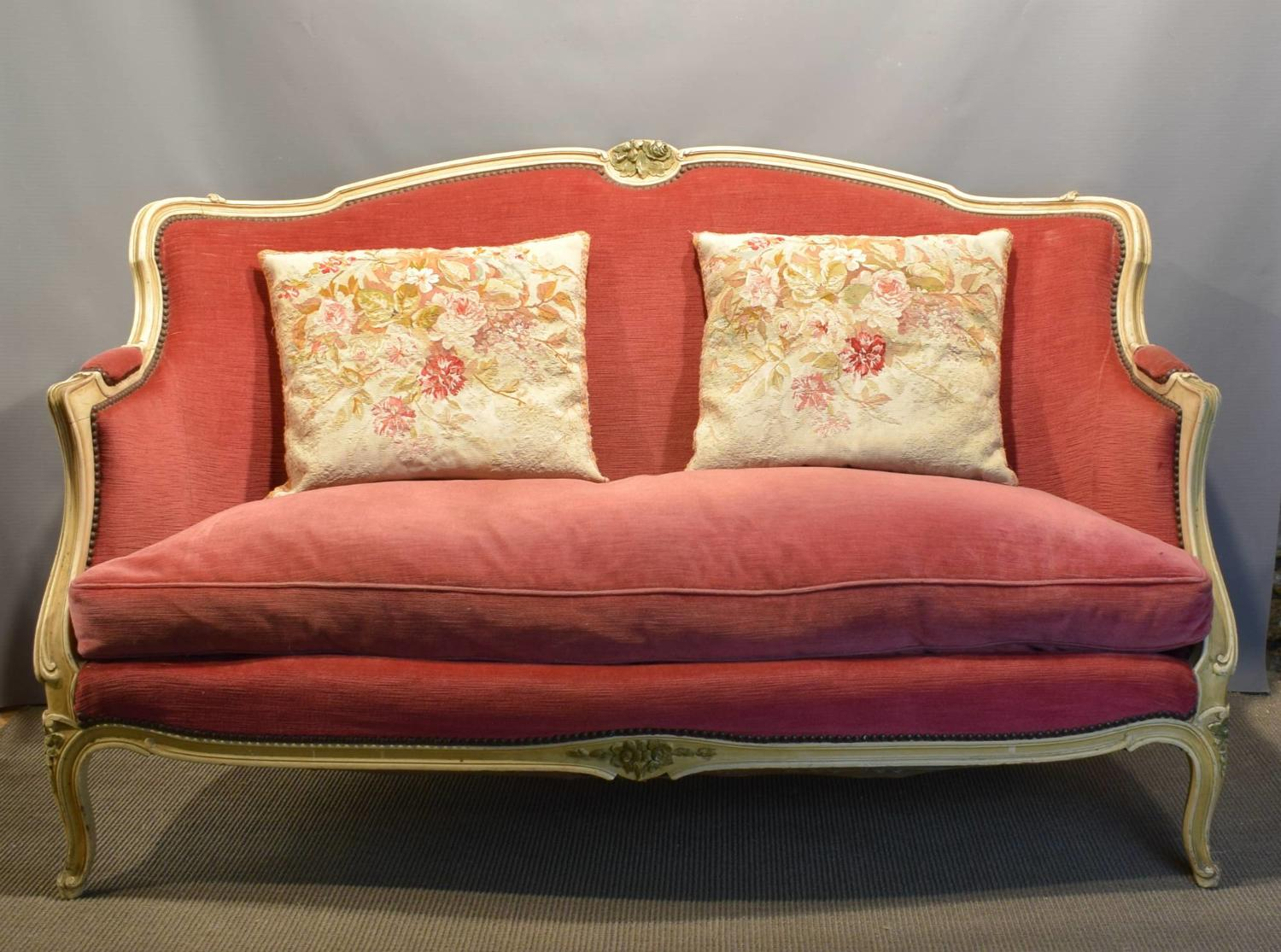 Vintage French Pink Velvet Sofa in Louis XV Style