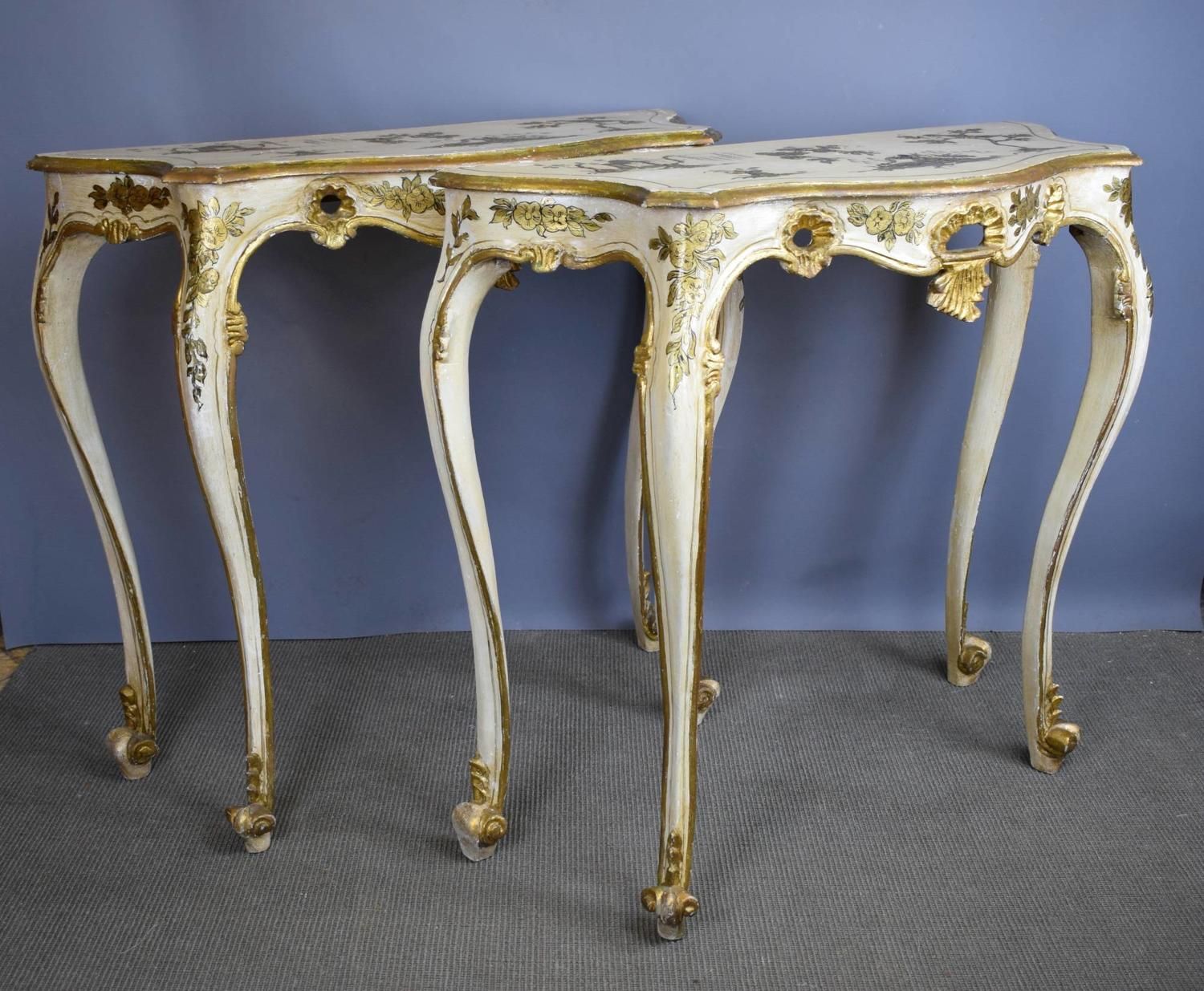 Pair of Chinoiserie Decorated Console Tables
