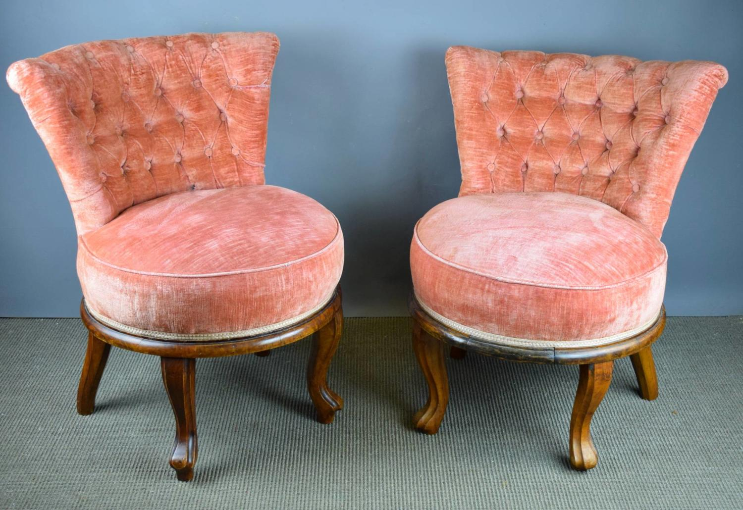 Pair of French Pink Velvet Button Back Cocktail Chairs
