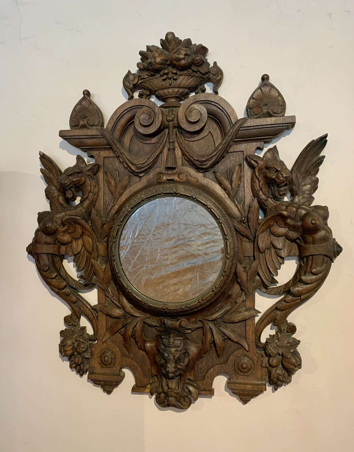 Antique Grotesque Carved Mirror