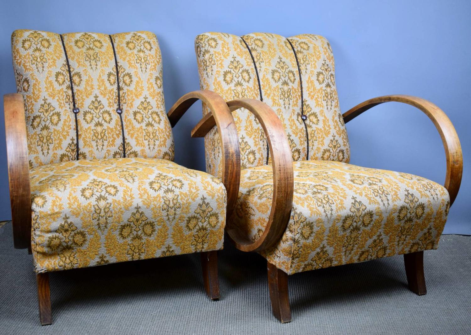 Pair of Lounge Chairs attributed to Jindrich Halabala for UP Závody Brno