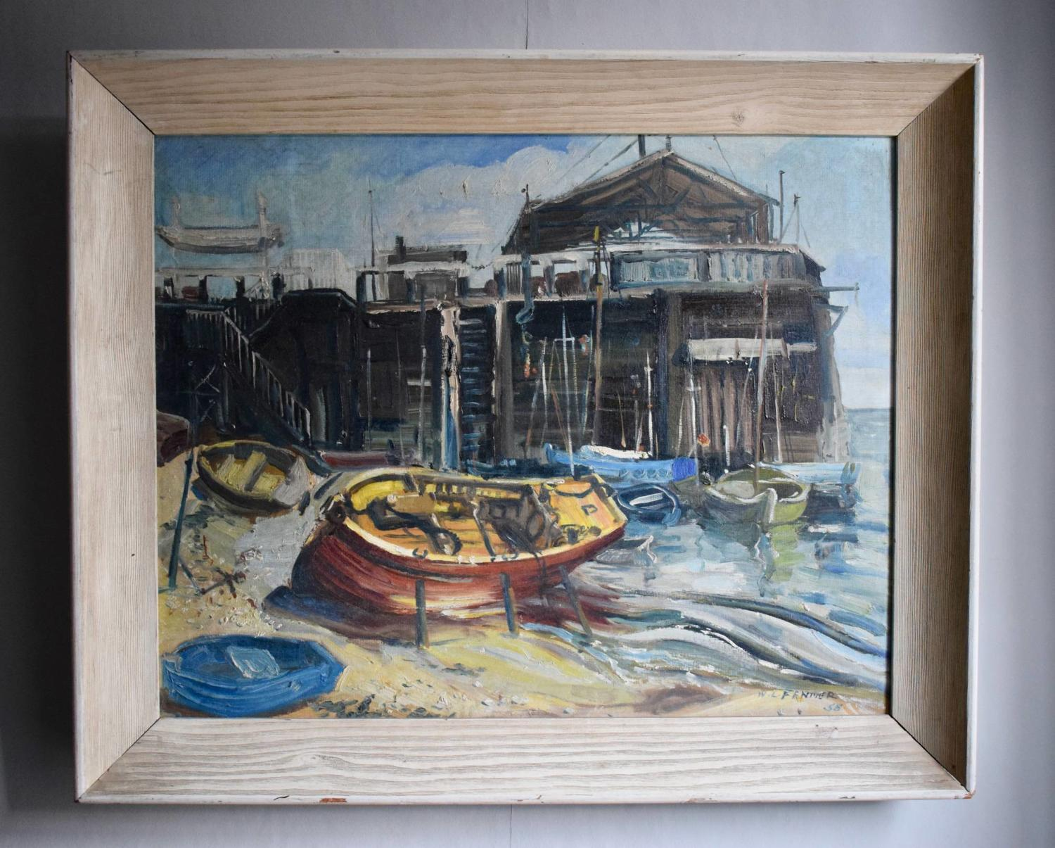 Walter Leslie Fenner, Fishing Boats at Broadstairs Harbour, Oil on Boa