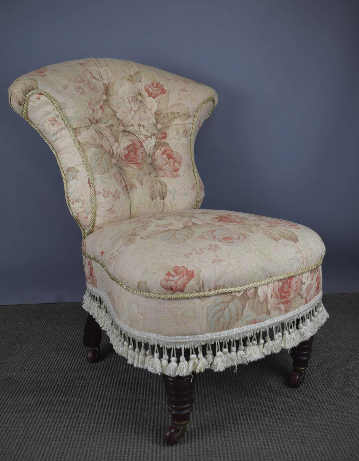 Antique Button Back Nursing Chair with Tapestry Upholstery