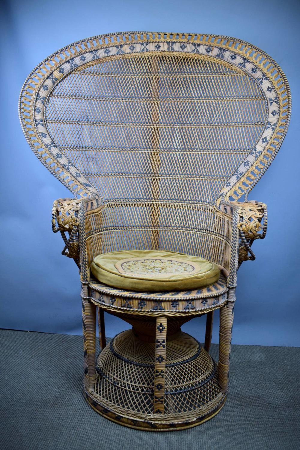 Original 1970's Rattan Emmanuelle Peacock Chair