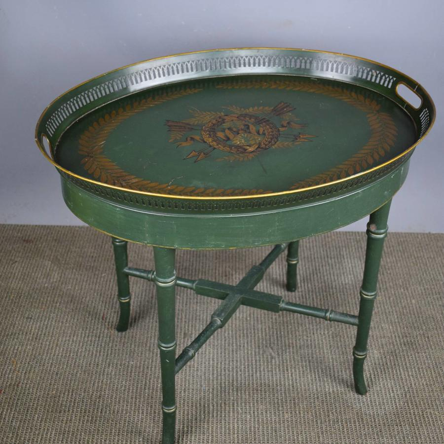 Toleware & Faux Bamboo Tray Top Table in Empire Style