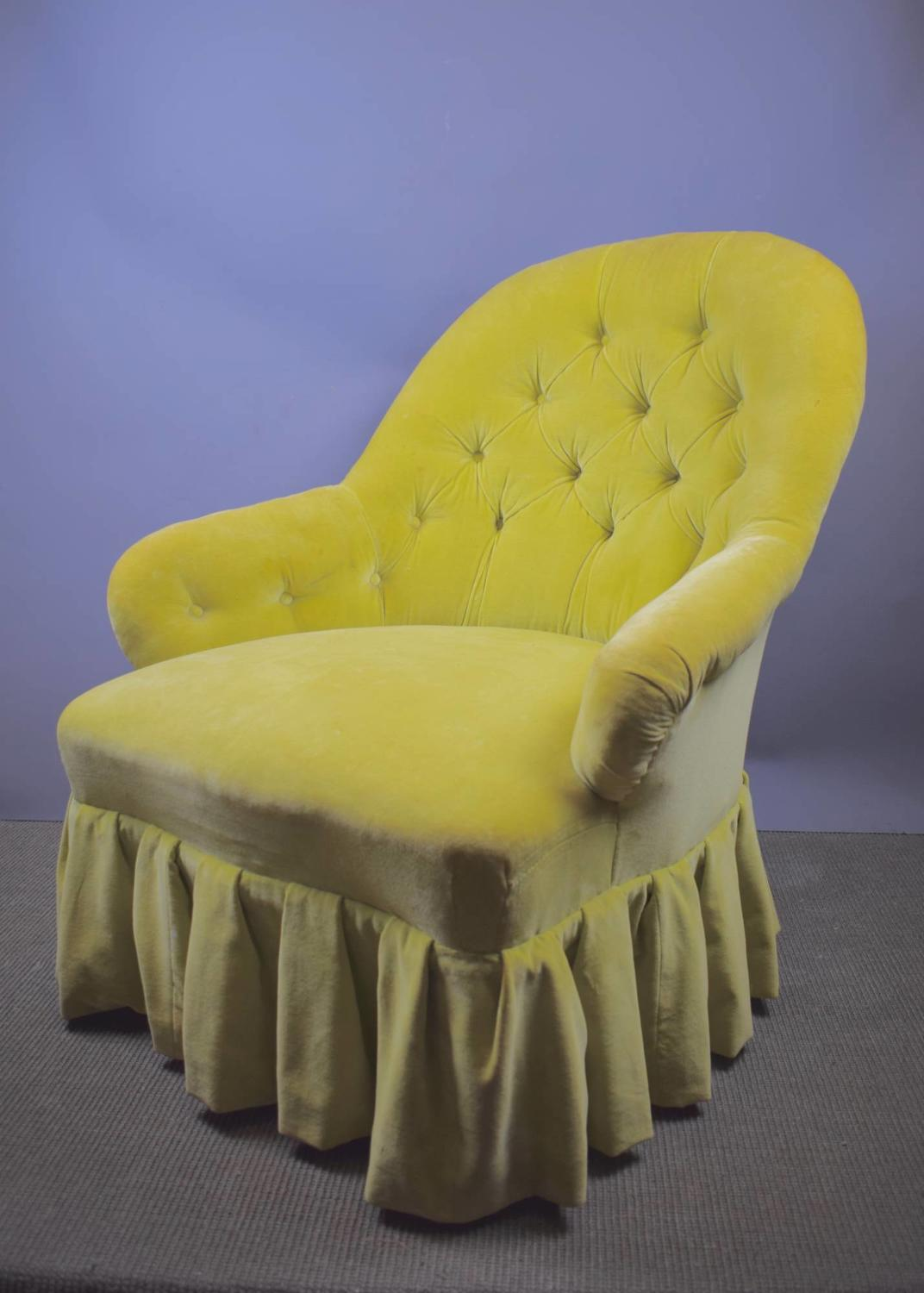 Victorian Button Back Armchair in Chartreuse Velvet