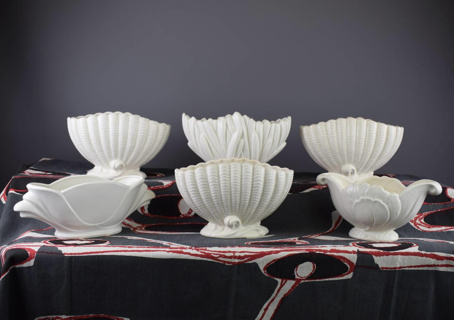 Six Sylvac Cream Glazed Mantle Vases / Planters
