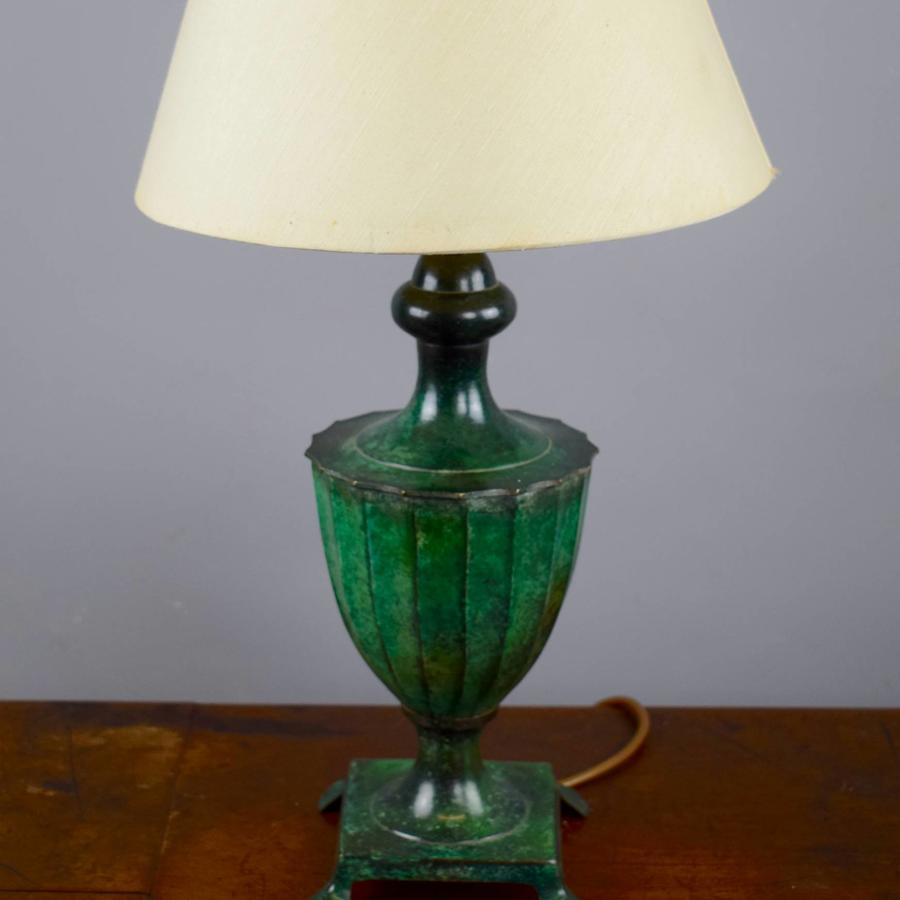 Faux Verdigris Painted Brass Table Lamp