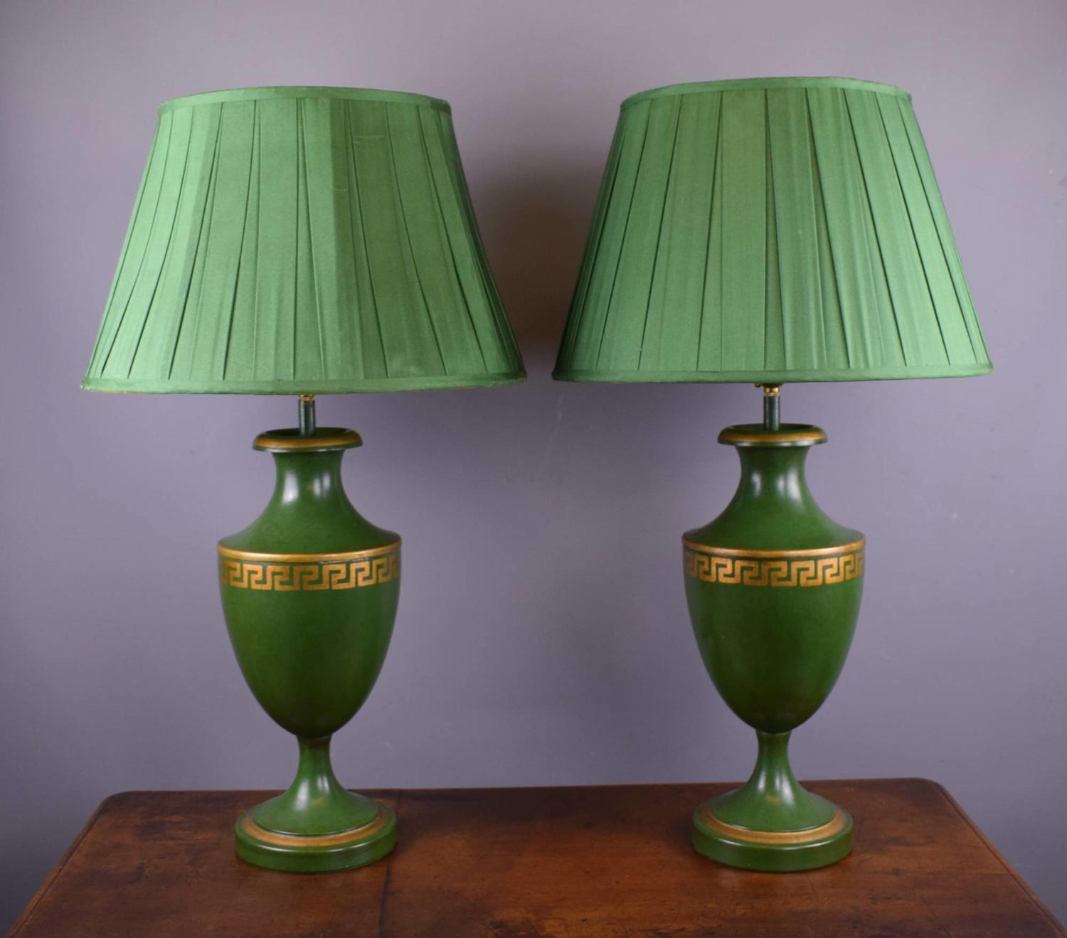 Pair of Green Toleware Table Lamps