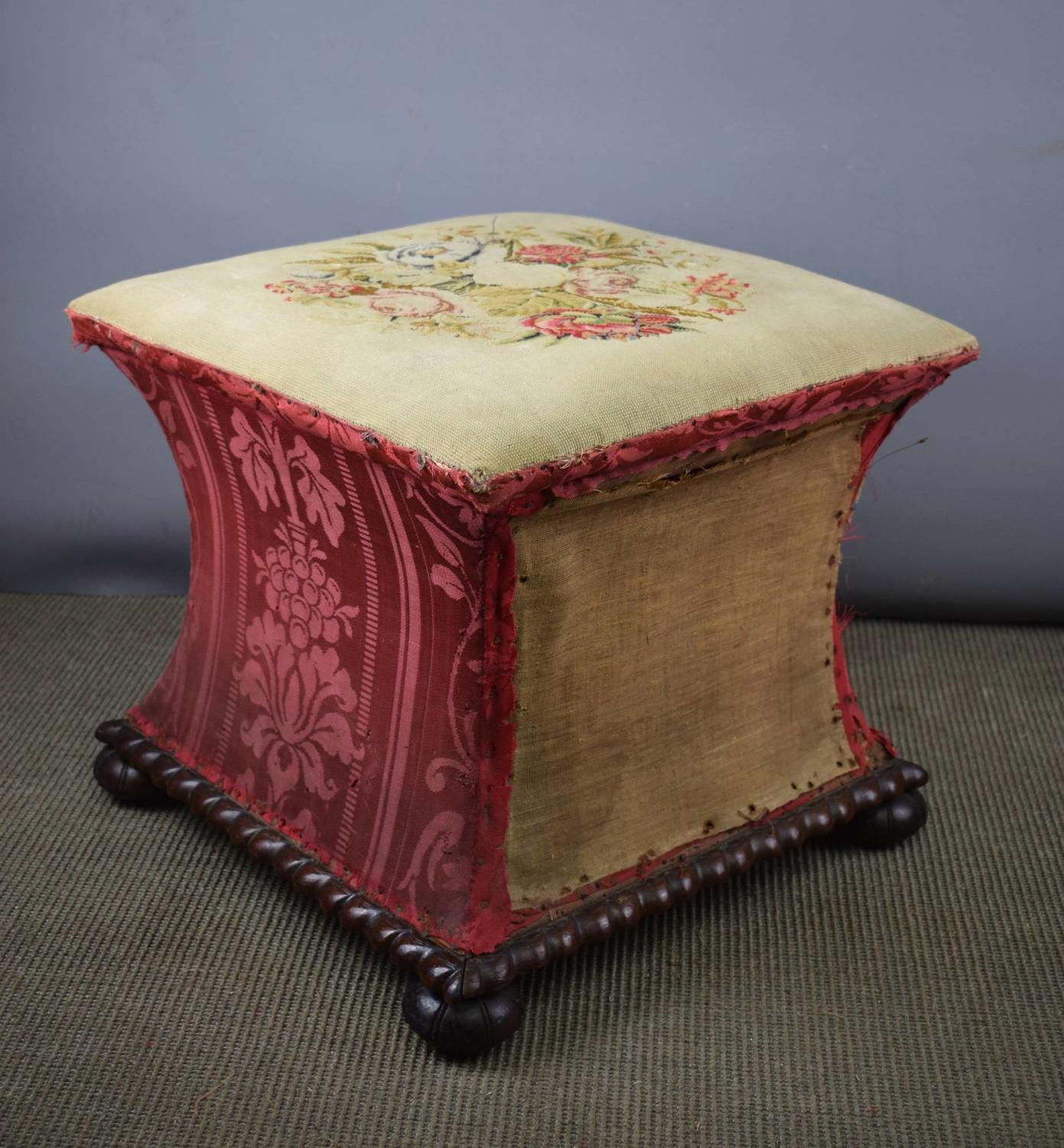 William IV Box Ottoman / Stool with Needlework Seat