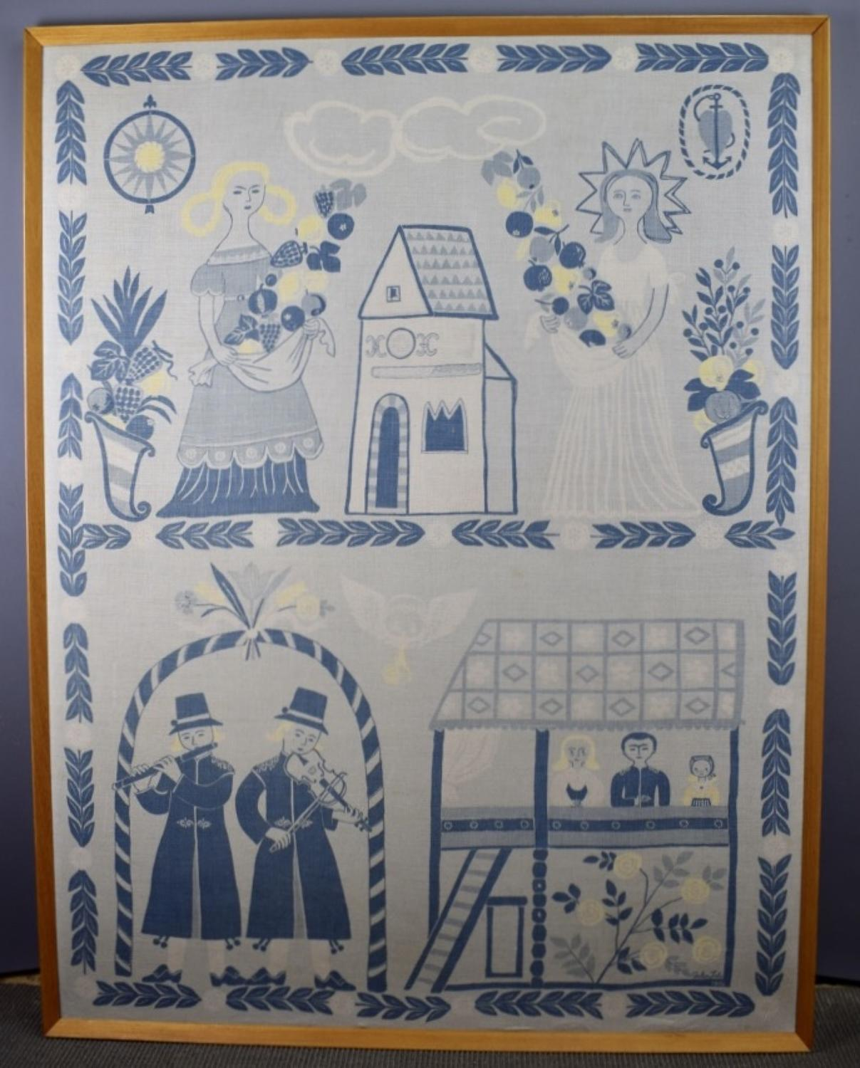 Swedish Mid Century Hand Printed Textile Wall Hanging by Gocken Jobs