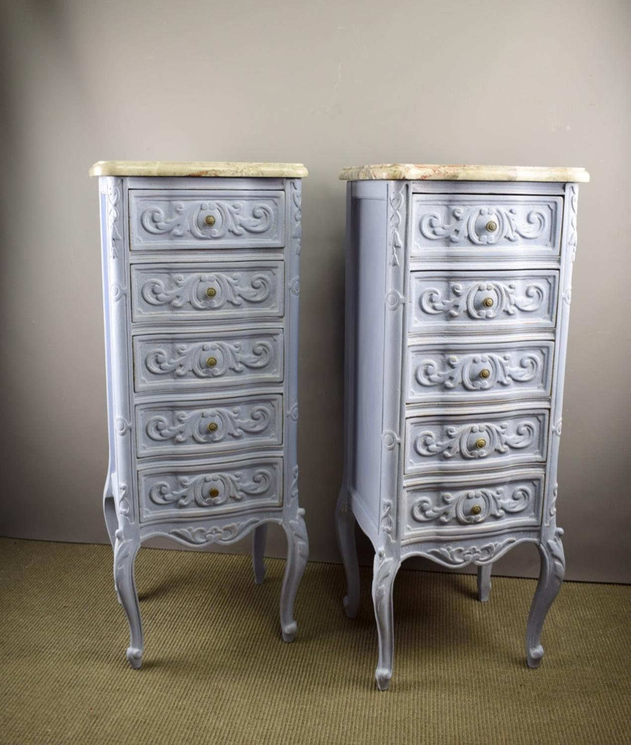 Pair of French Marble Top Bedside Chests