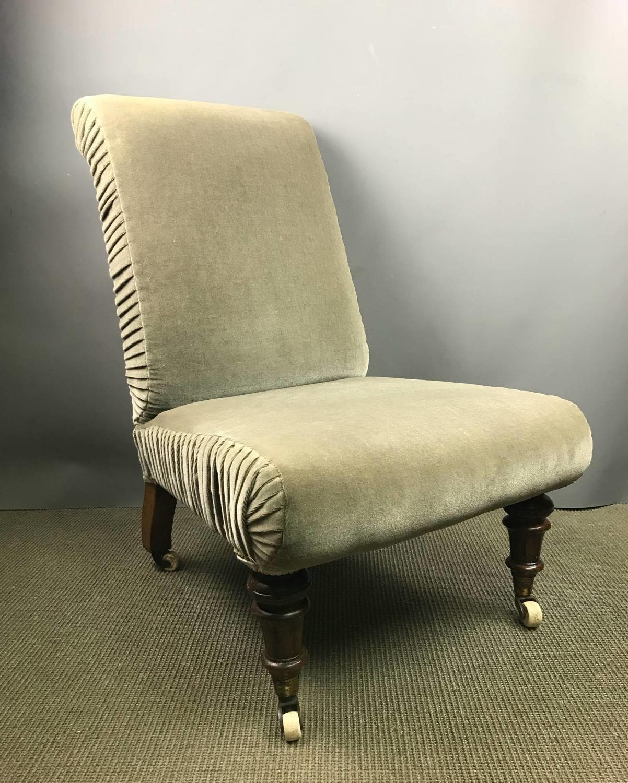 Victorian Nursing Chair in Sage Green Velvet