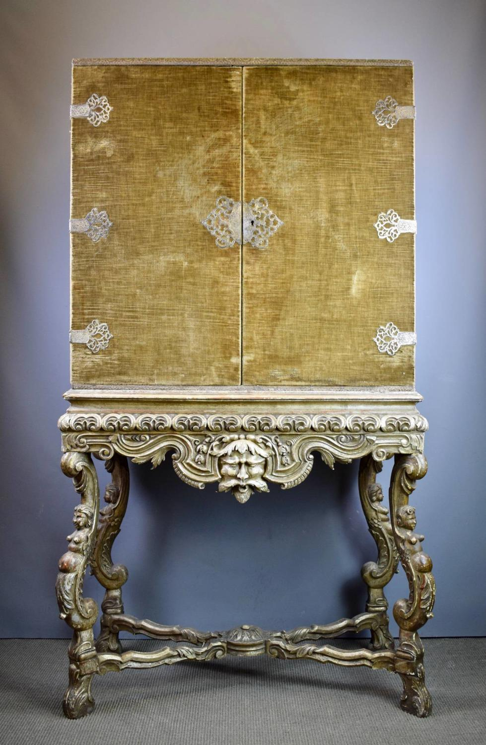 17th century Style Velvet Covered Cabinet on Carved Silver-wood Stand