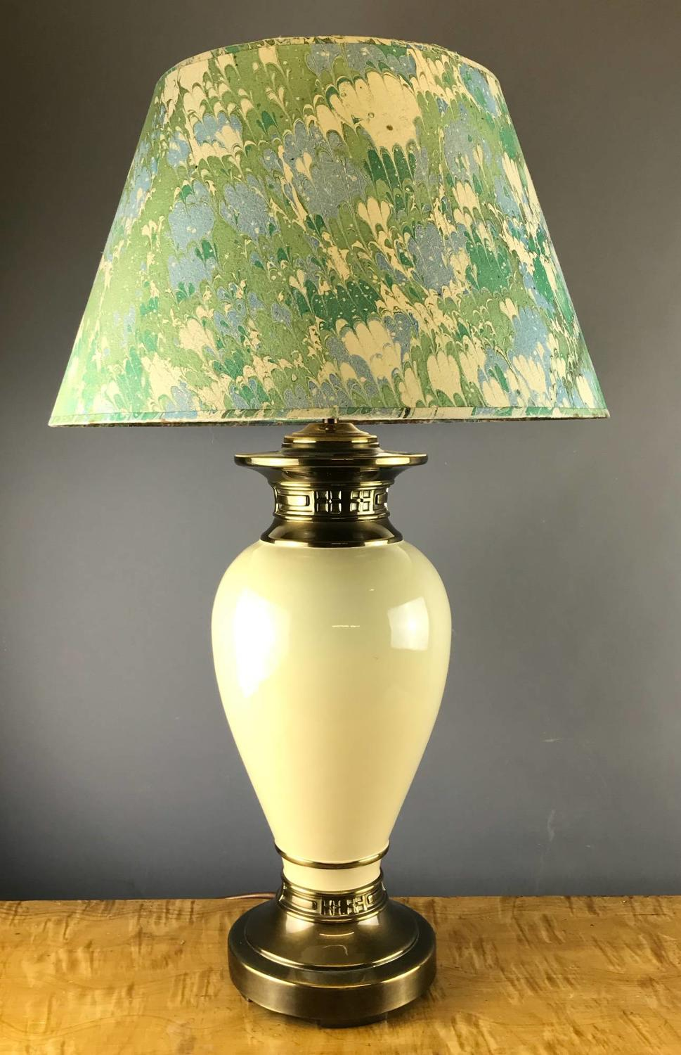 Brass & Cream Vase Shaped Table Lamp