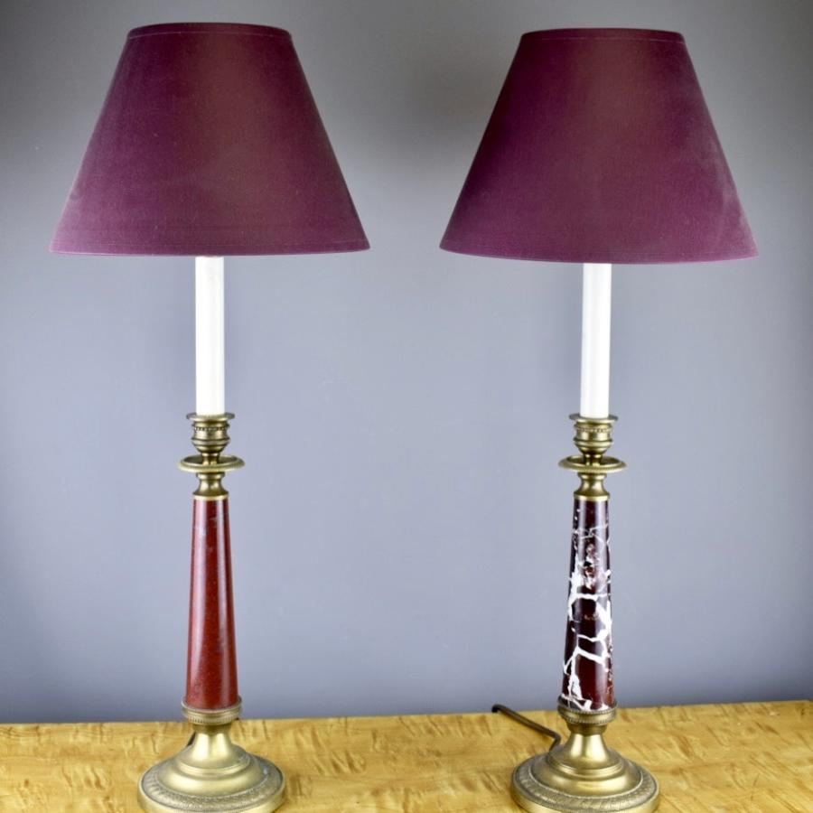 Pair of Gilt Brass & Marble Candlestick Lamps in Empire Style