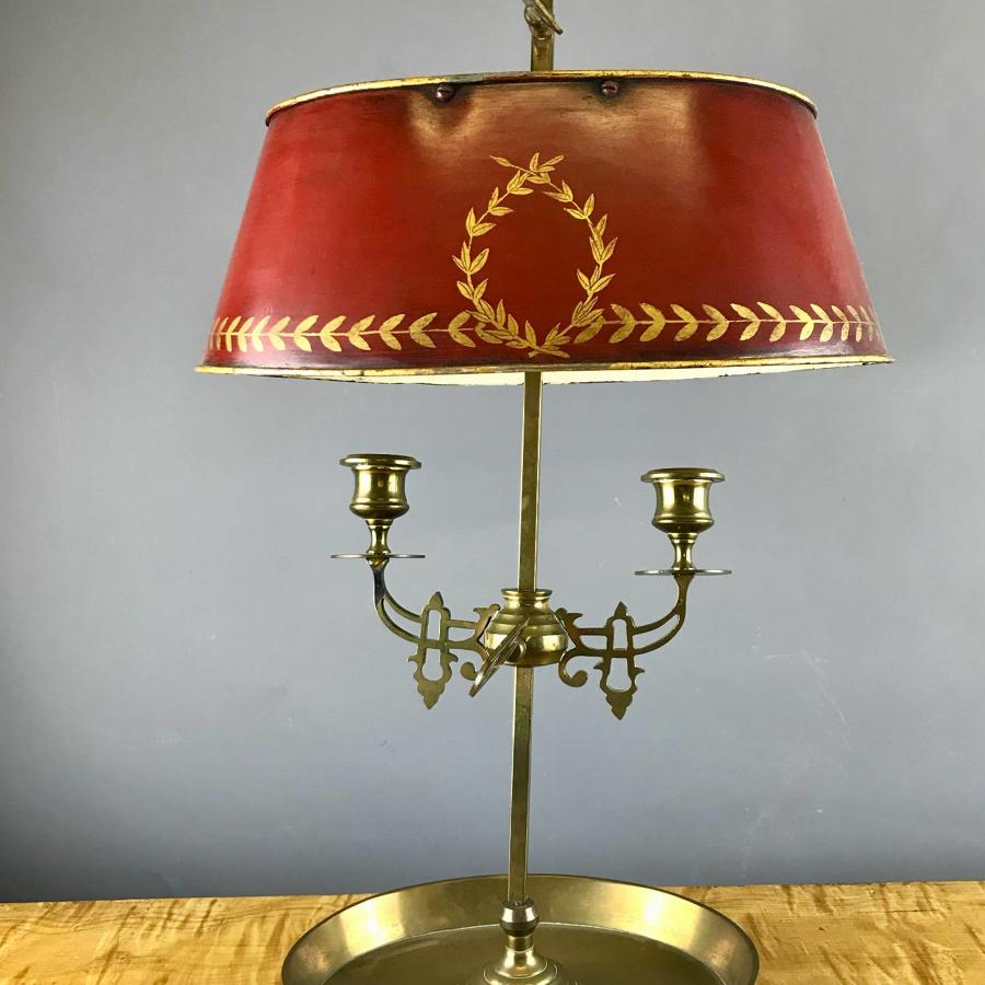 Empire Style Brass Bouillotte Lamp with Toleware Shade
