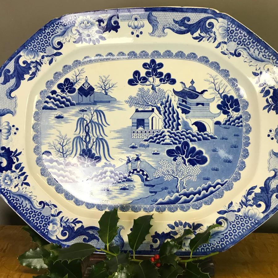 Victorian Blue & White Willow Pattern Meat Plate