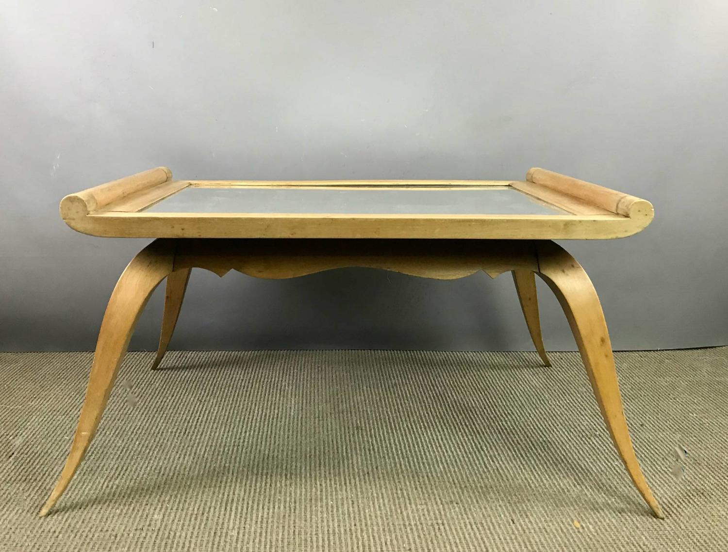 French 1940's Pale Walnut Table Low Table with Mirror Glass Top