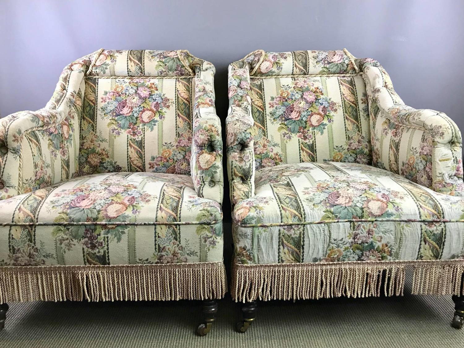 Pair of Victorian Tapestry Upholstered Armchairs