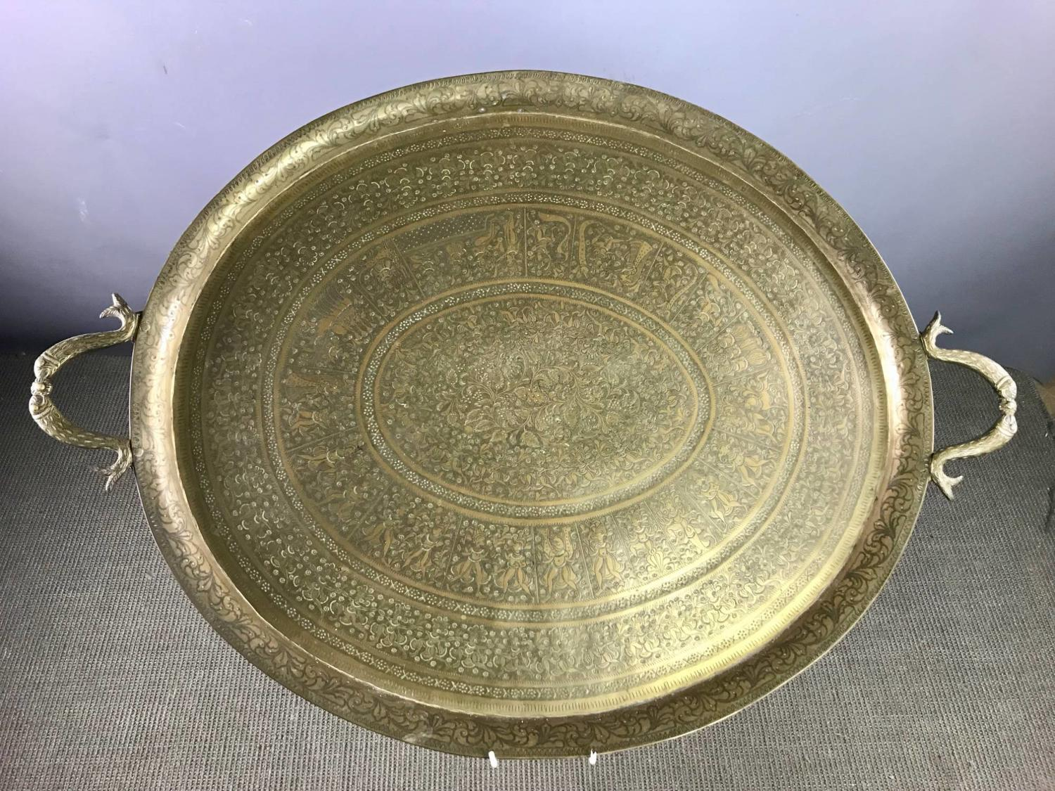 Large Indian Engraved Brass Tray
