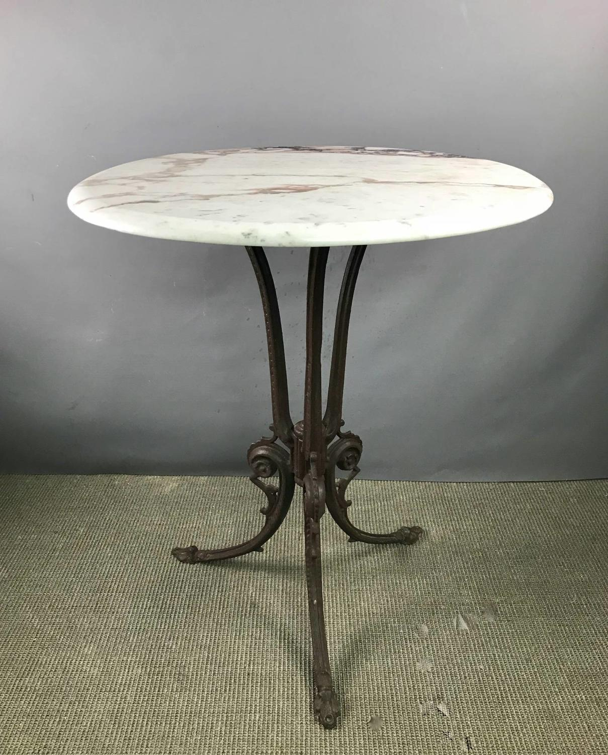 Cast Iron & Marble Occasional Table