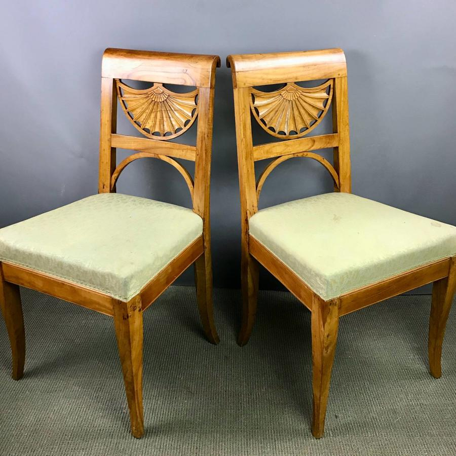 Pair of Swedish Biedermeier Satin Birch Chairs
