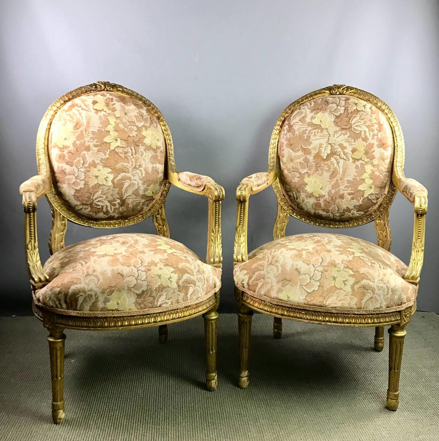 Pair of Giltwood Open Armchairs in Louis XVI Style