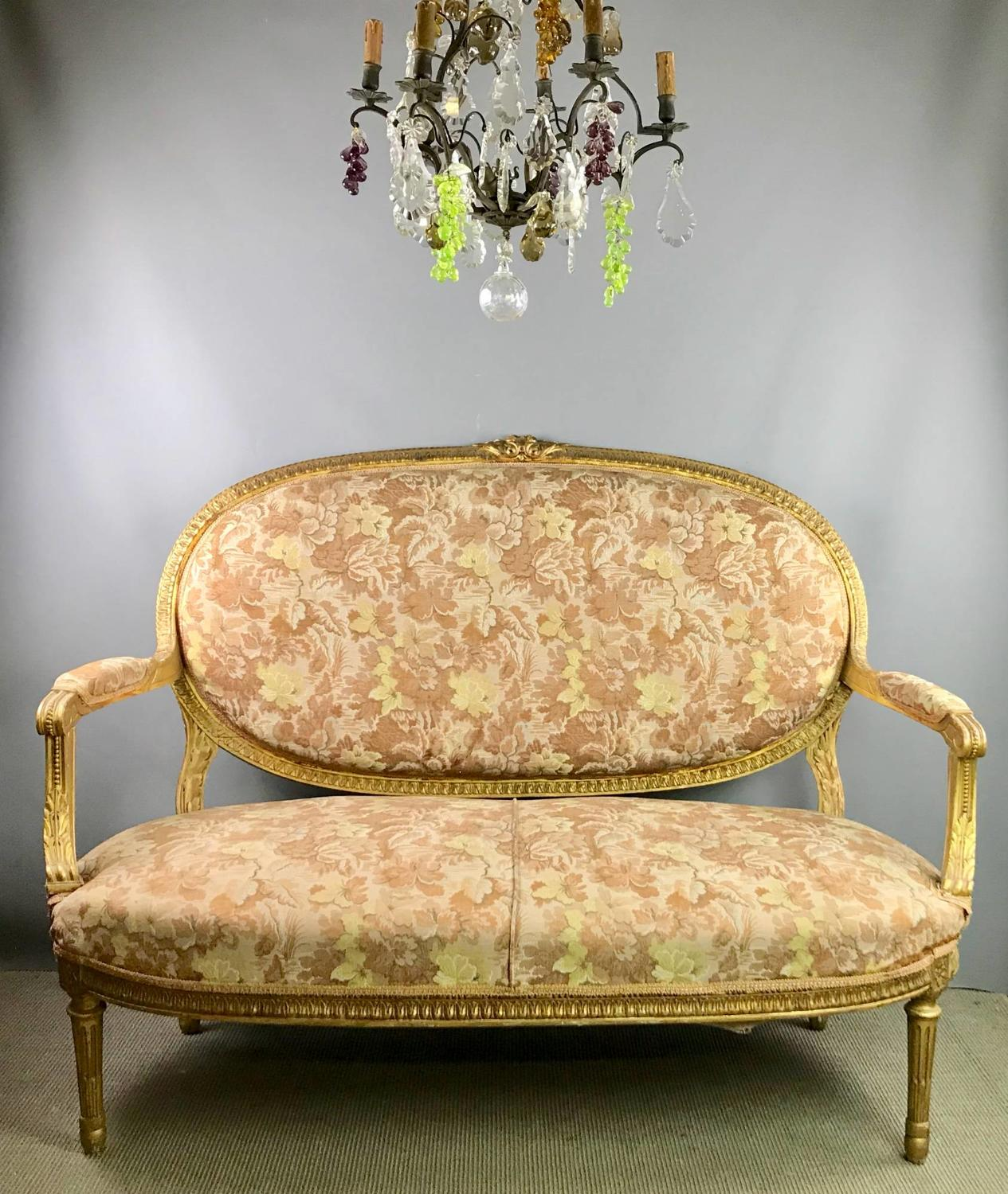 French Giltwood Settee in Louis XVI Style