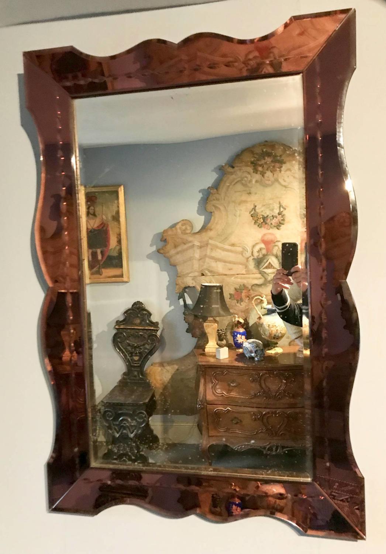 Art Deco Wall Mirror with Purple Mirror Glass Frame