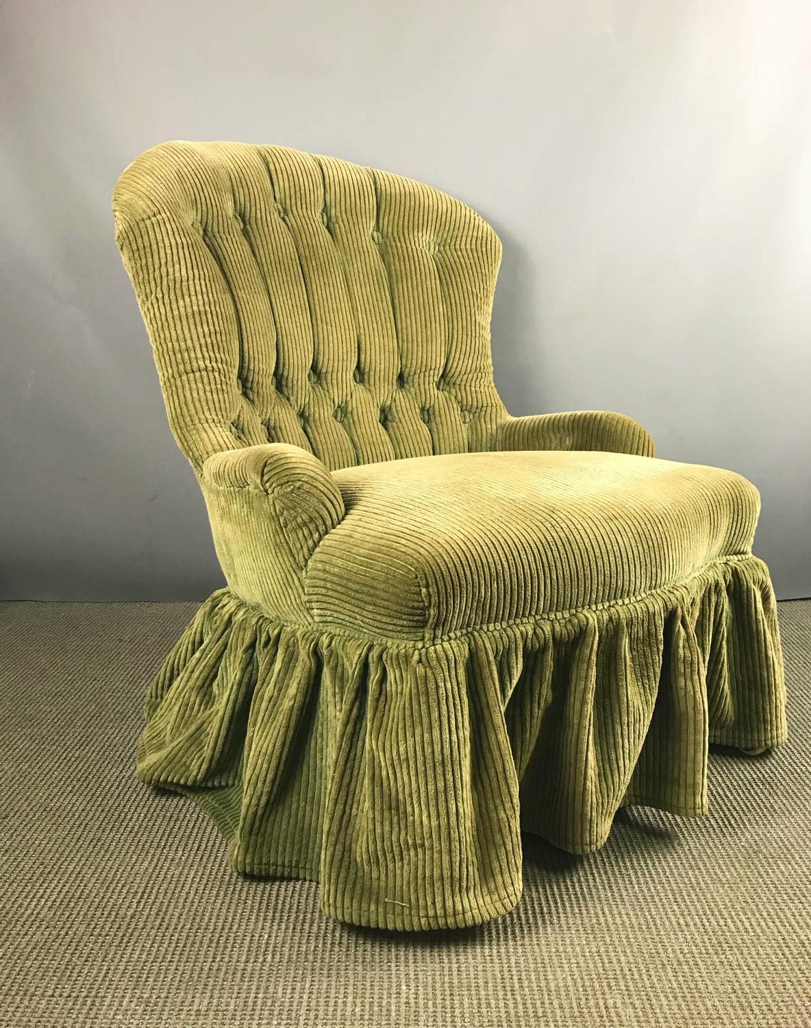 Small Victorian Iron Framed Corduroy Upholstered Armchair