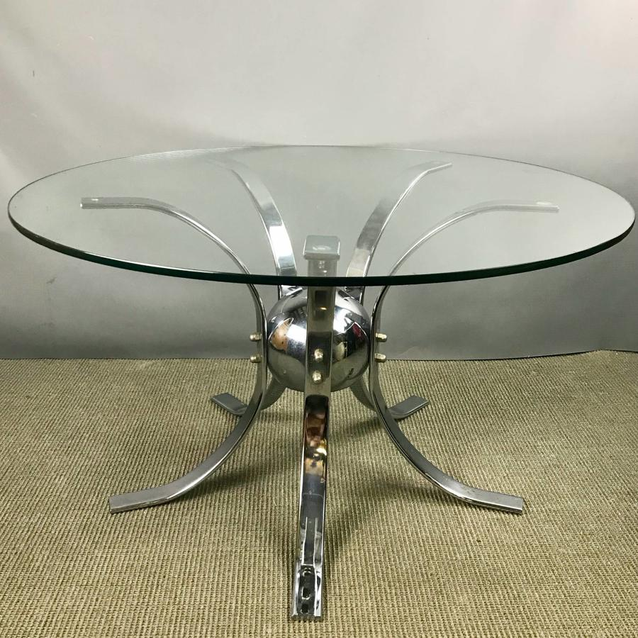 Stylish 1970's Chrome & Glass Coffee Table