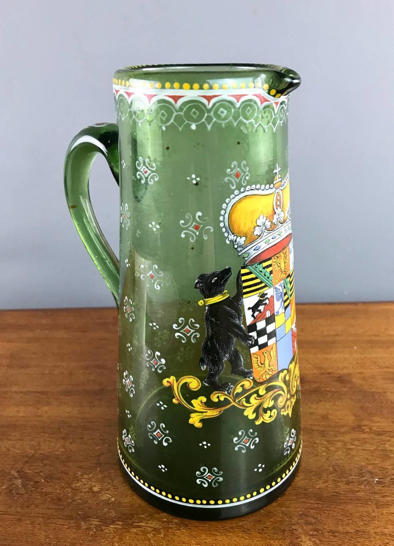 Bohemian Enamelled Glass Jug in Historismus Style