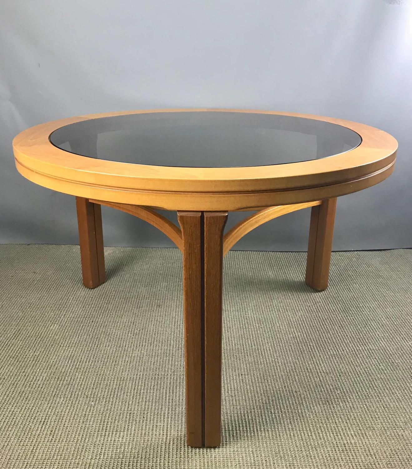 Mid Century Nathan Furniture Teak & Smoked Glass Coffee Table