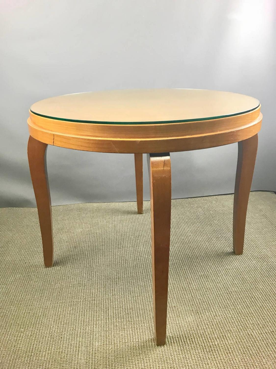 French 1940's Pale Walnut Circular Coffee Table