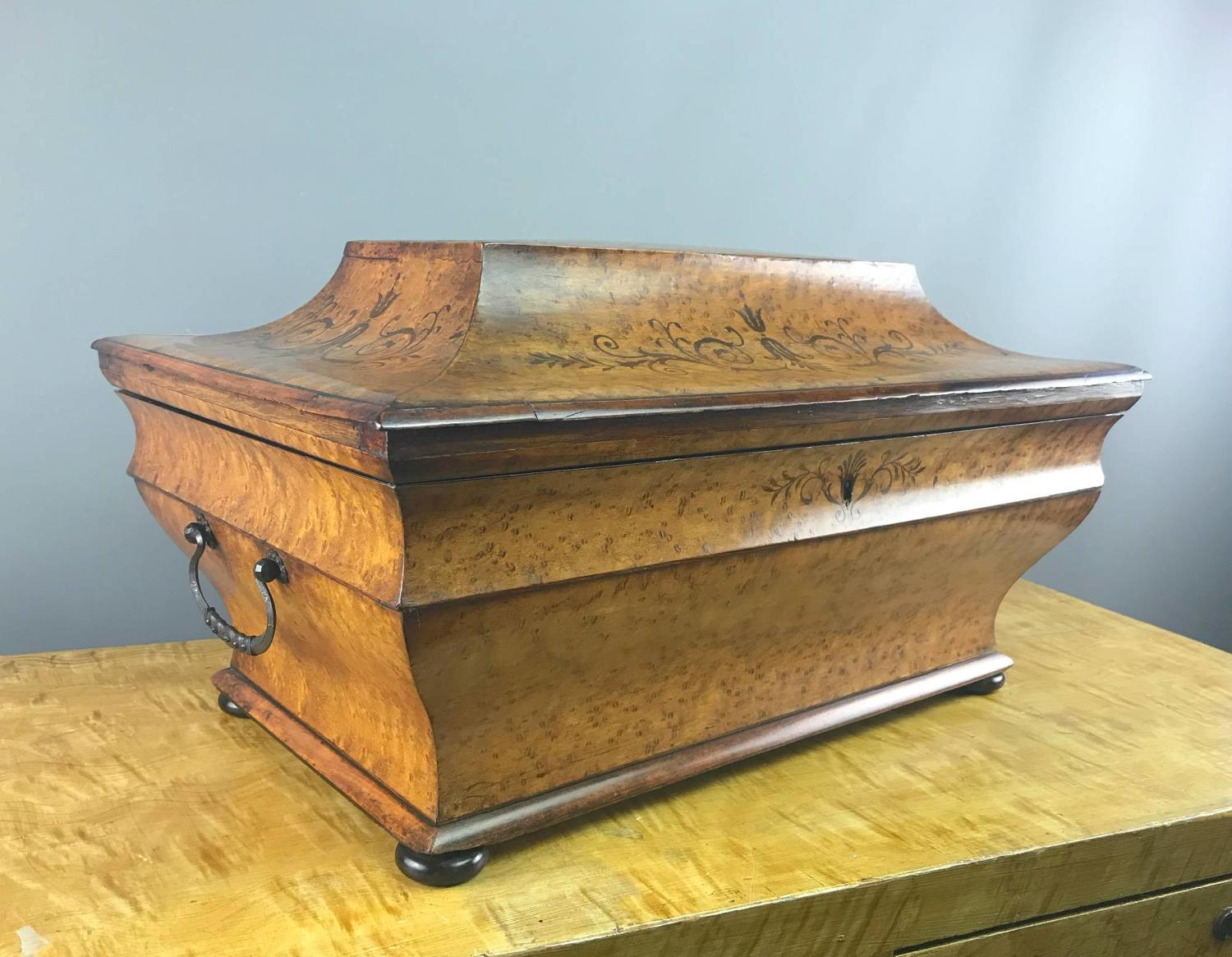 Huge Italian Inlaid Burr Maple Sarcophagus Shaped Box