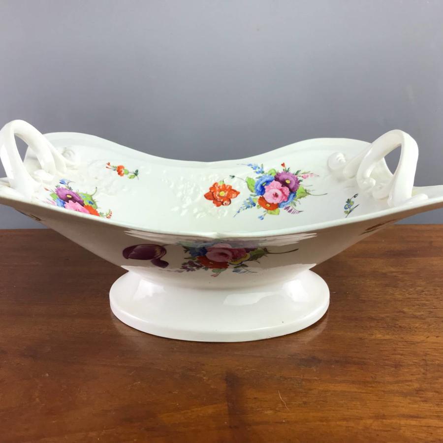Victorian Hand Painted Staffordshire Porcelain Basket