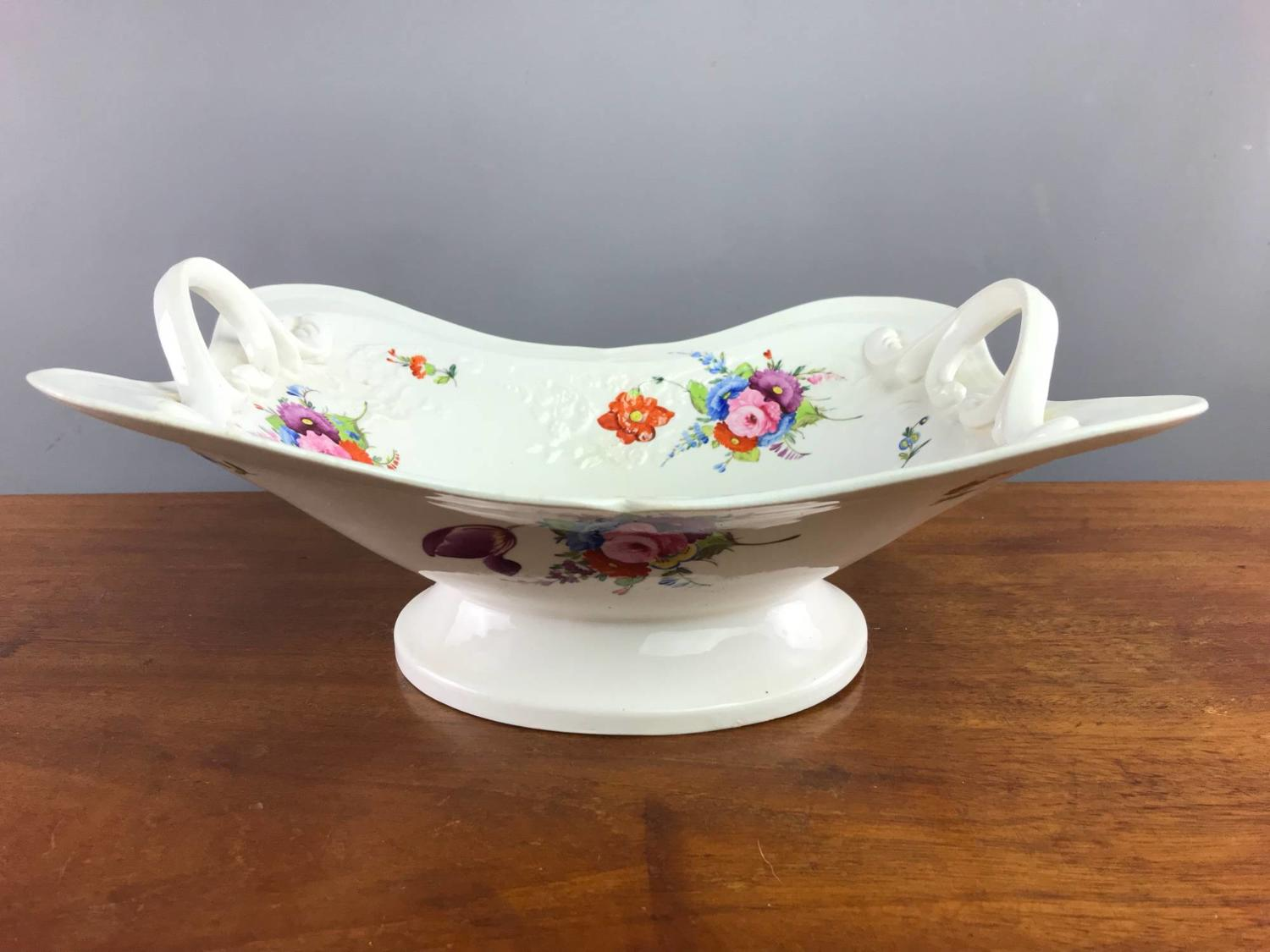 Victorian Hand Painted Staffordshire Porcelain Basket