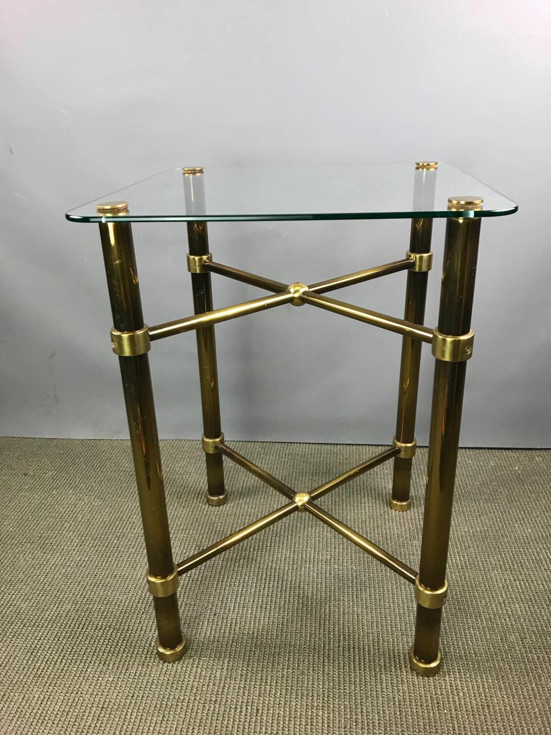 Glass & Patinated Brass Side Table