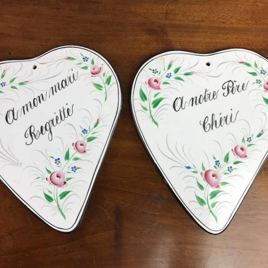 Pair of Vintage French Hand Painted 'In Memoriam' Pottery Plaques
