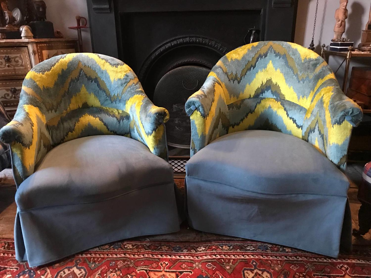 Pair of French Salon Tub Chairs