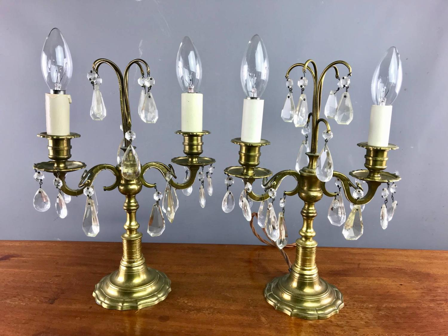 A pair of Cut Glass Lustre Table Lamps