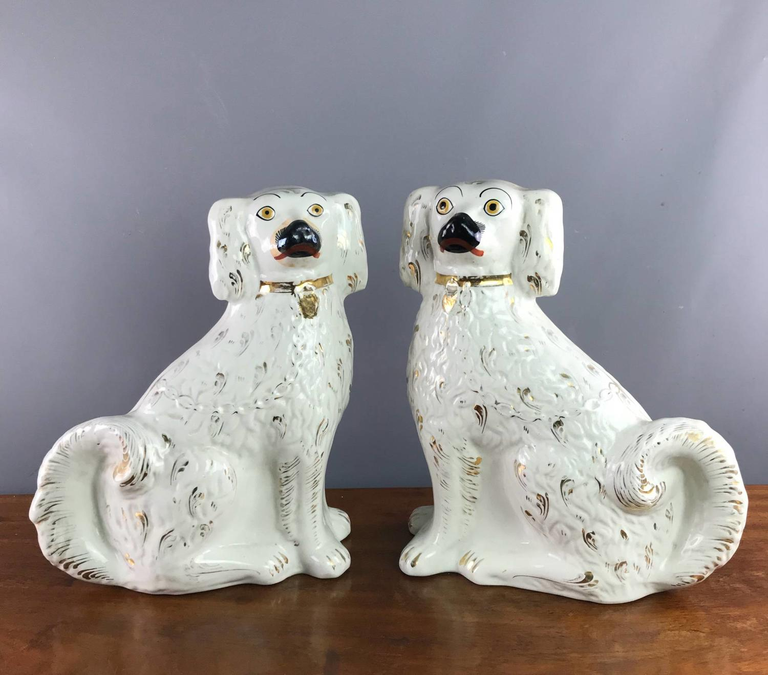 Large Pair of Victorian Staffordshire Dogs