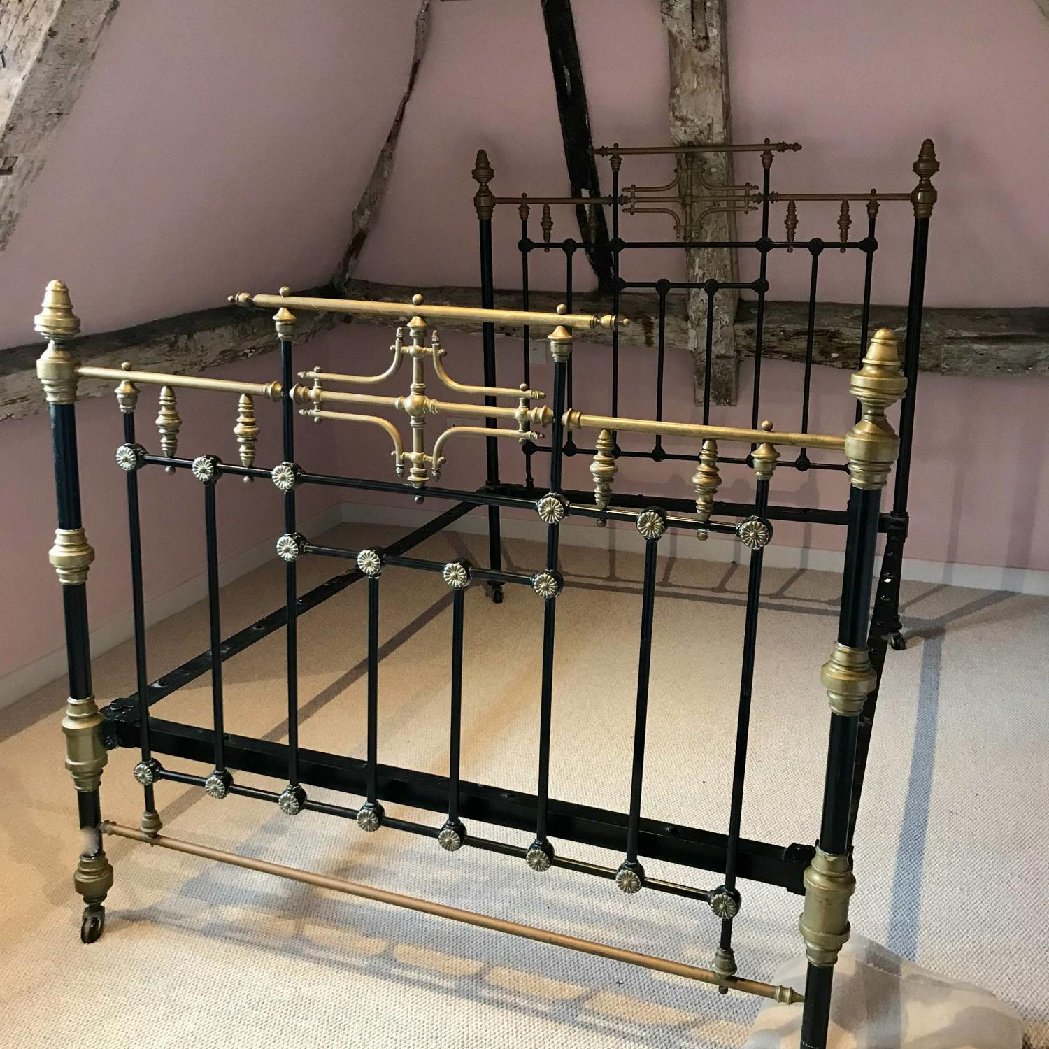 Victorian Brass & Cast Iron Double Bed