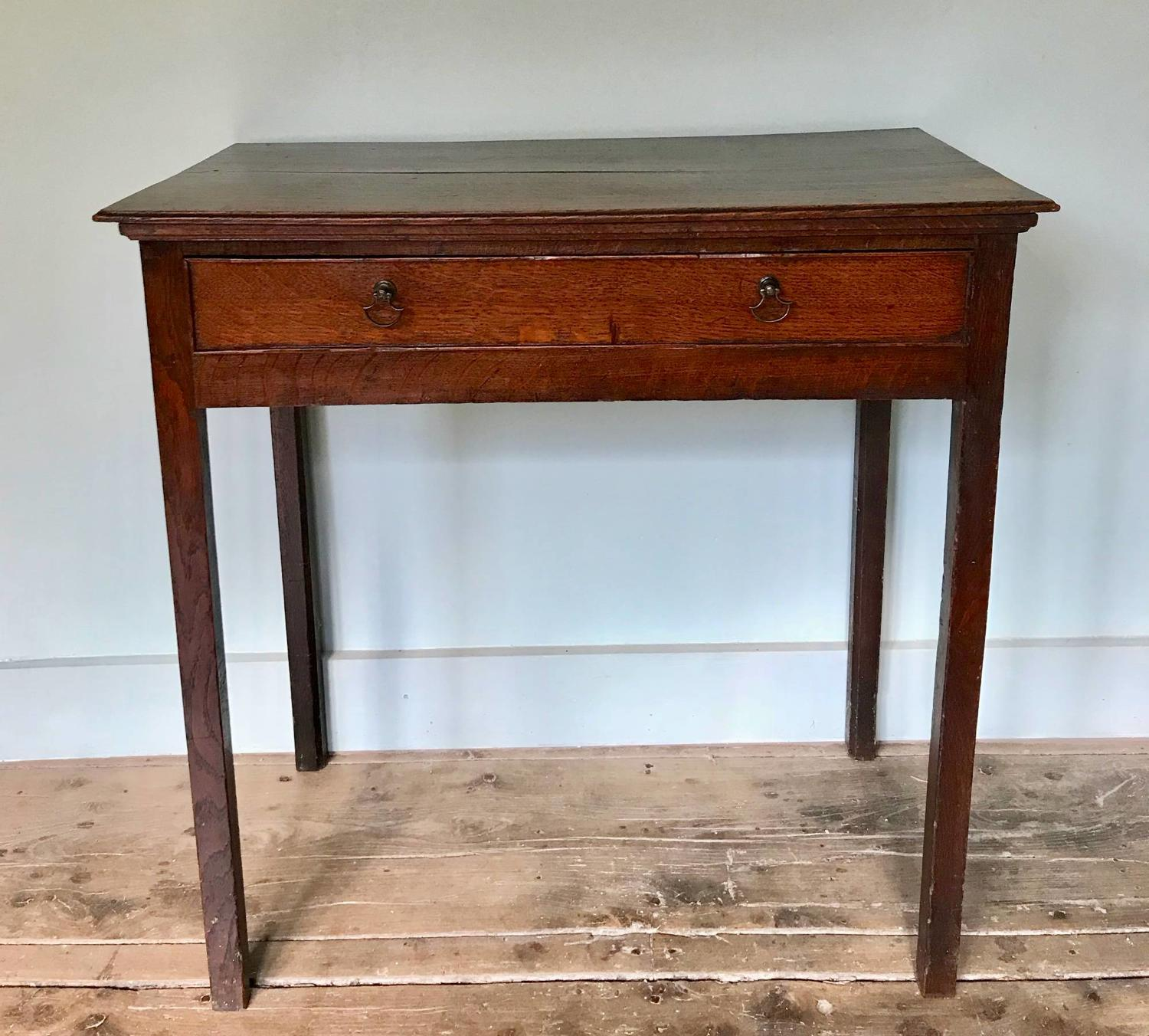 Small Georgian Oak Single Drawer Side Table / Lowboy