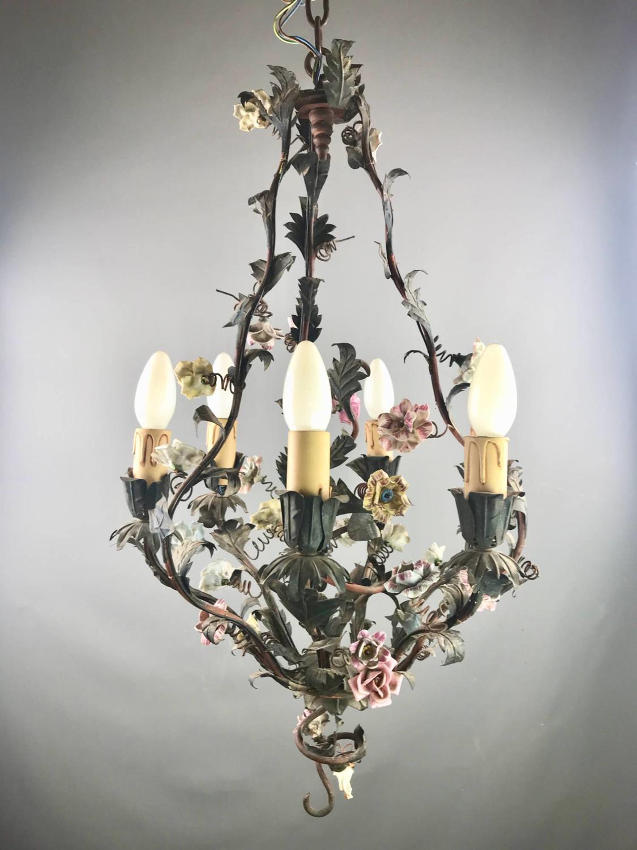 Vintage Italian Flower Encrusted Toleware Chandelier