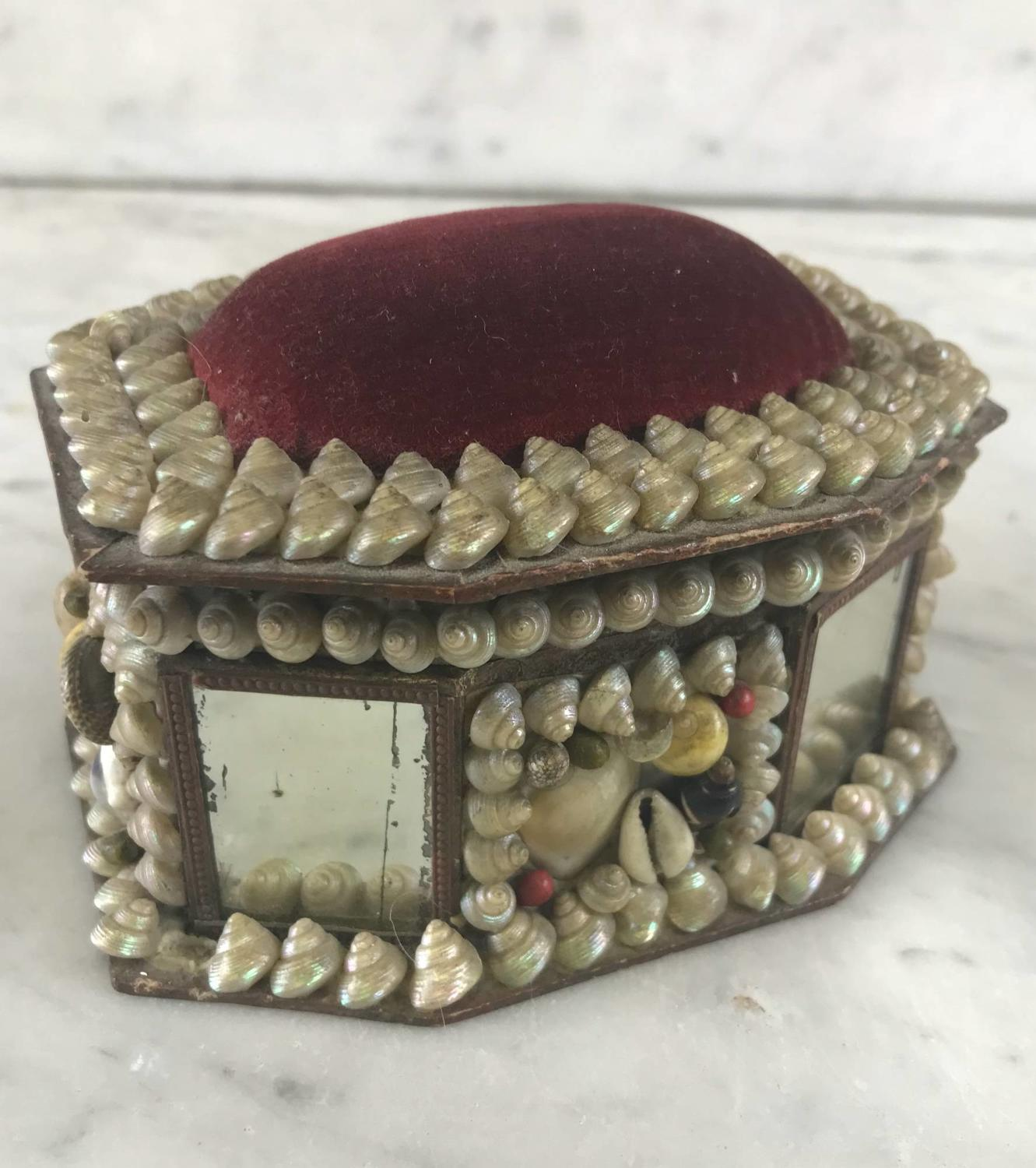 Antique Shellwork Pin Cushion Box
