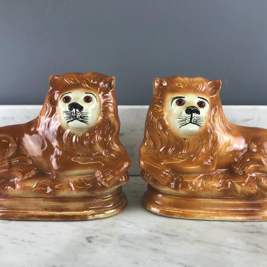 Pair of Scottish Bo'ness Pottery Recumbent Lions