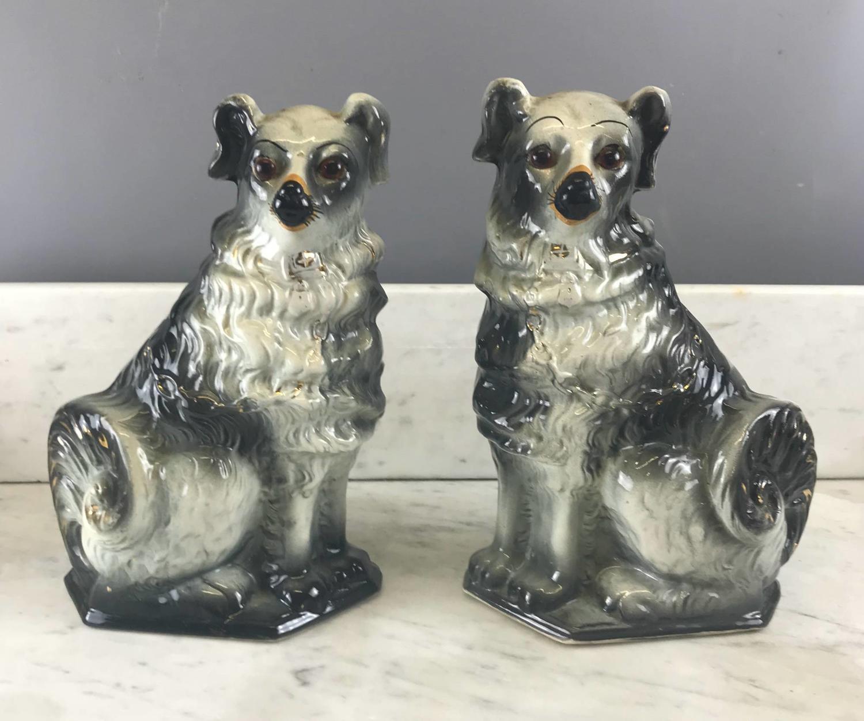 Pair of Scottish Bo'ness Pottery Black & White Dogs